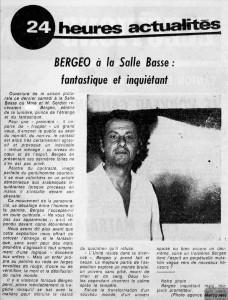 Bergeo à la Salle Basse - Le Provençal - 10 Sept 1973