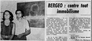 Bergeo contre tout immobilisme - Le Provençal - Sept 1971
