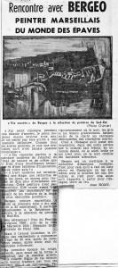 Rencontre avec Bergeo - Nice Matin - 4 Sept 1960