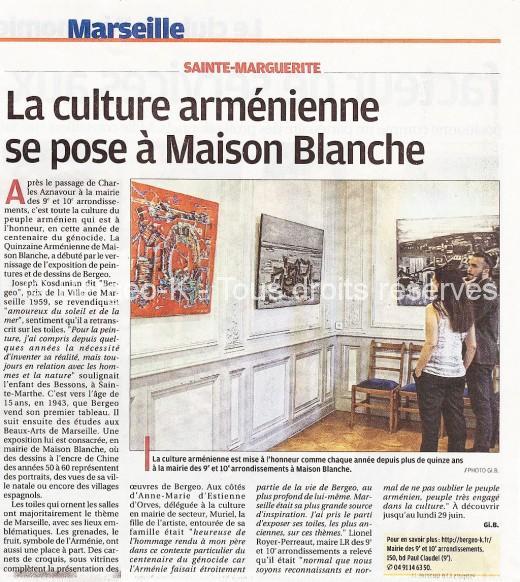 Exposition La quinzaine arménienne - La Provence - Juin 2015