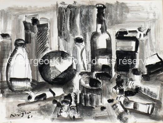 Atelier du peintre. 1961 - 50X38cm