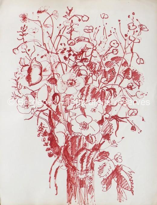Bouquet de fleurs. 1960 - 66X50cm
