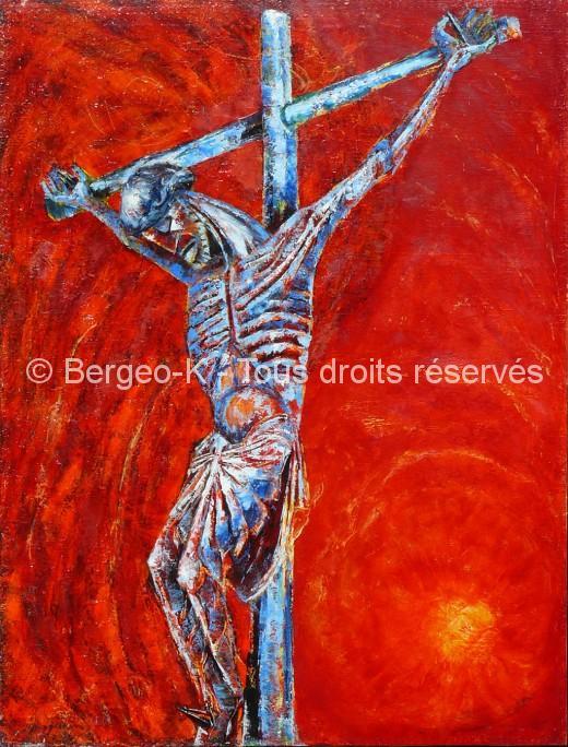 Christ sur fond rouge. D'après le Christ de Perpignan. 50F - 1981