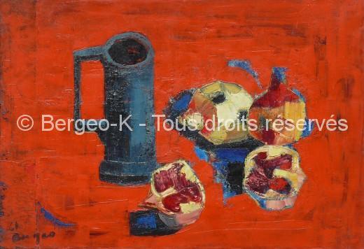 Grenades au pot d'étain sur fond rouge. 20M - 1955