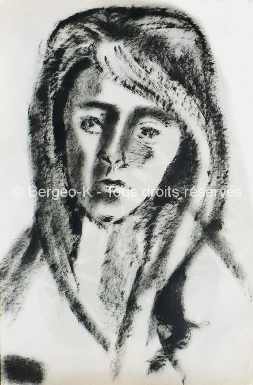 Portrait de jeune fille aux cheveux longs. 1960 - 66X50cm