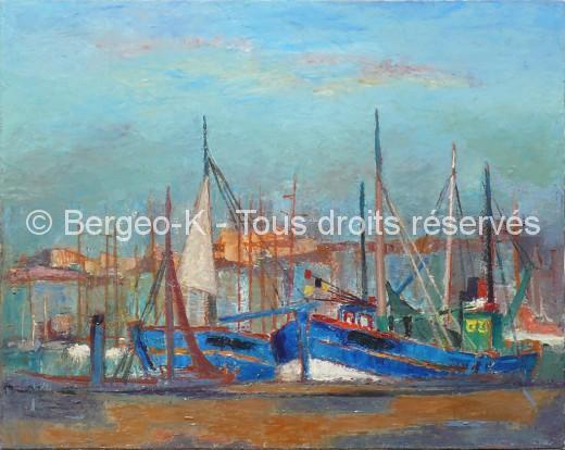 Vieux port aux bateaux bleus. Marseille . 30F - 1956