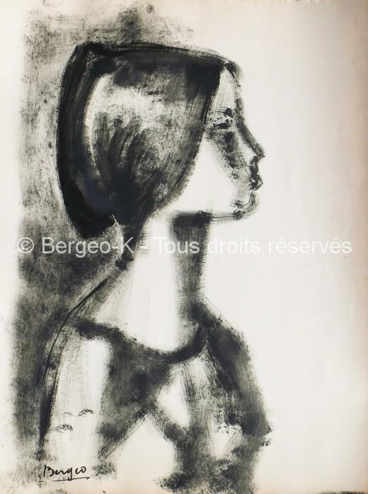 Portrait au chignon. 1950 - 50X66 cm