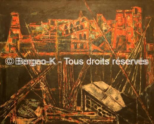 Le vieux port de nuit - 1957 - 92 X 74 cm (Collection privée Reguin)